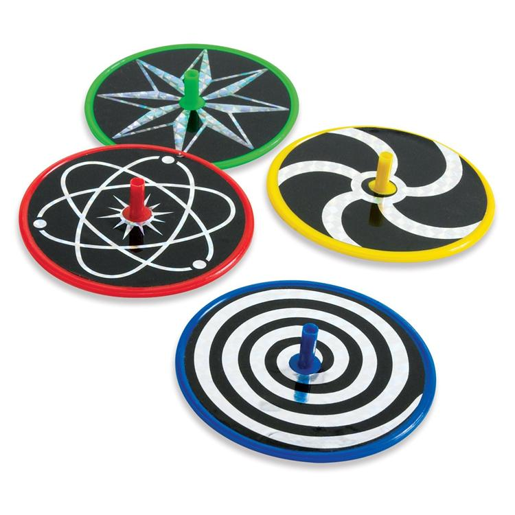 3'' Laser Disc Spin Tops Assorted